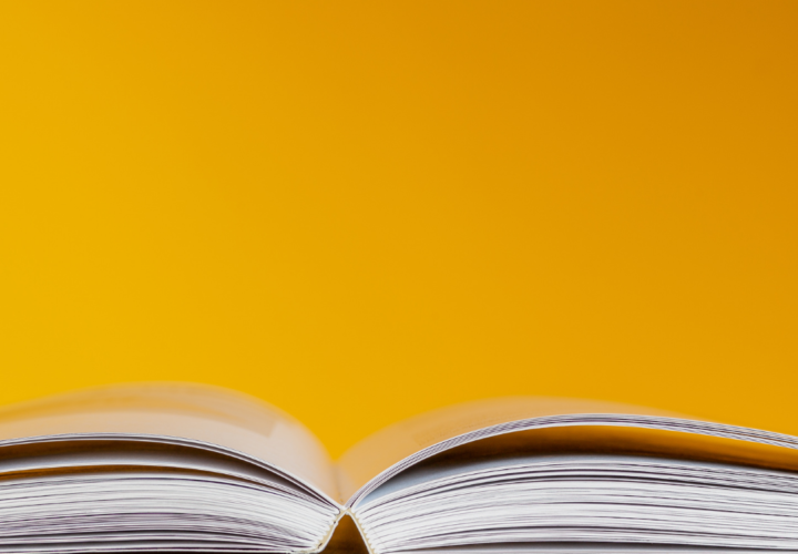 Tech Dictionary, yellow background and book